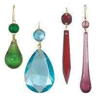 Traditional Colored Glass Lamp Crystals & Pendalogues