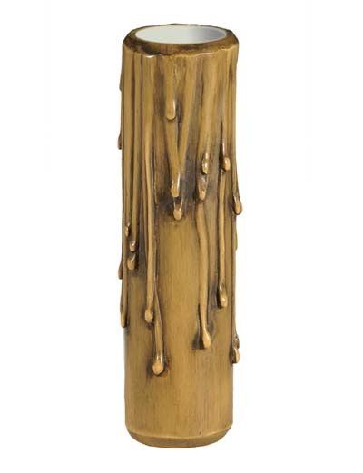 B/&P Lamp 6 Inch Gold Coin Color Polybeeswax Candelabra Candle Cover
