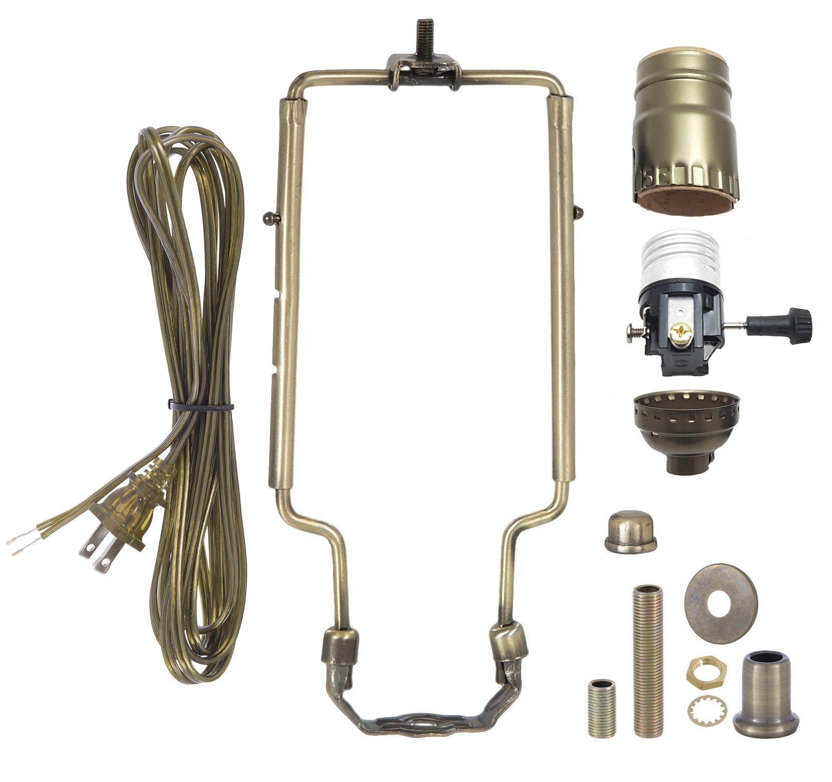 Antique Brass Table Lamp Wiring Kit With 3 Way Socket And Adjustable Harp