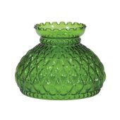 Diamond Quilted Dark Green Glass Shade, 7 inch fitter