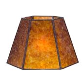 """Antique Amber Hexagon Style Mica Lampshade, 1"""" Recessed UNO Fitter"""