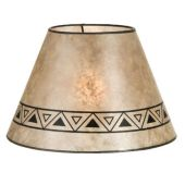 """Parchment Color Empire Shaped Mica Lamp Shades with Print, 1"""" Recessed UNO Fitter"""