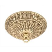 Ornamental Cast Brass Canopy with Polished Brass Finish, Mounting Hardware