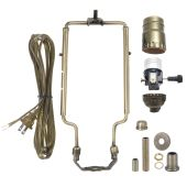 Antique Brass Table Lamp Wiring Kit with 3-way Socket and Adjustable Harp