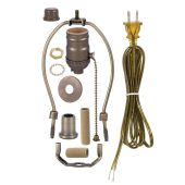 Antique Brass Finish Table Lamp Wiring Kit w/ Pull Chain Socket, Choice of Harp Size