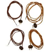 Rayon Lamp Cord - Wire Set with Antique Style Plug, CHOICE OF 2 COLORS AND 2 STYLES